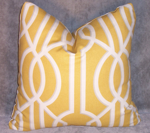 Yellow Lattice Throw Pillow Cover