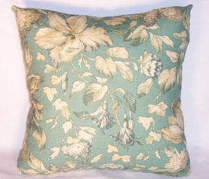 teal green floral pillow