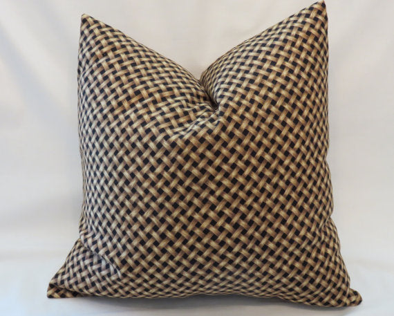 black and tan basket print pillow