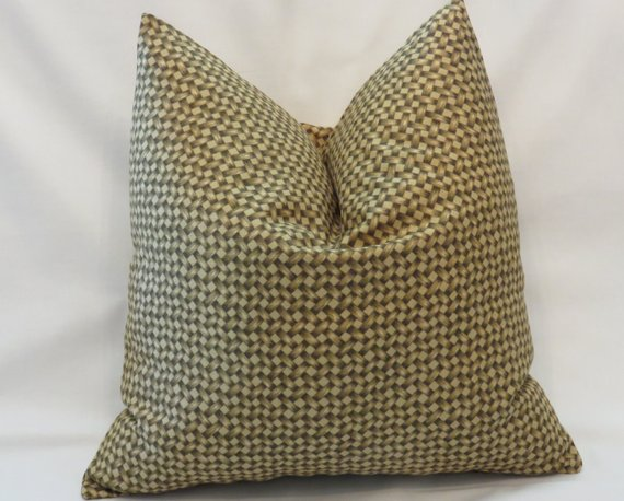 Rattan Print Pillow Cover in Gold and Brown