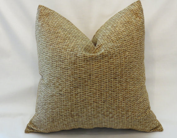 gold woven basket print pillow