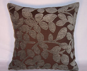 chenille leave pillow in blue-grey and brown