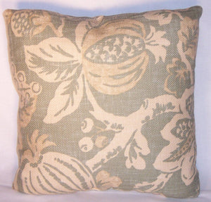 dusty aqua floral and fruit pillow