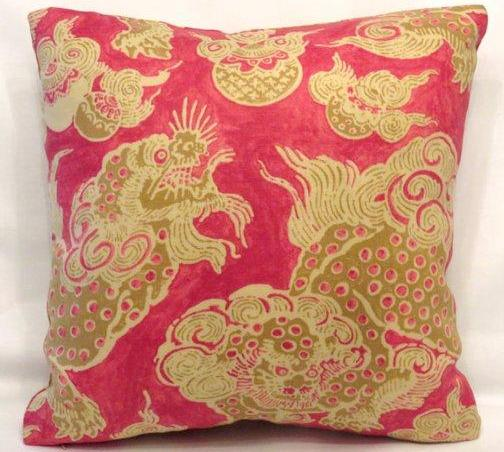 red gold dunmore dragon pillow