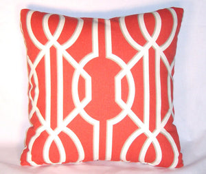 red and white lattice pillow