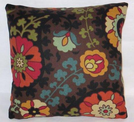 colorful brown suzani pillow