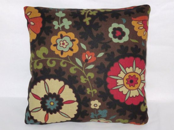 colorful floral on brown pillow