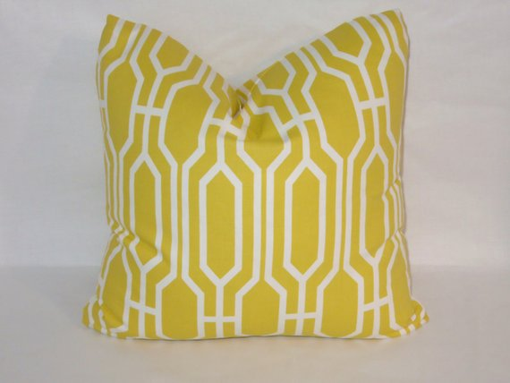 covington yellow lattice pillow