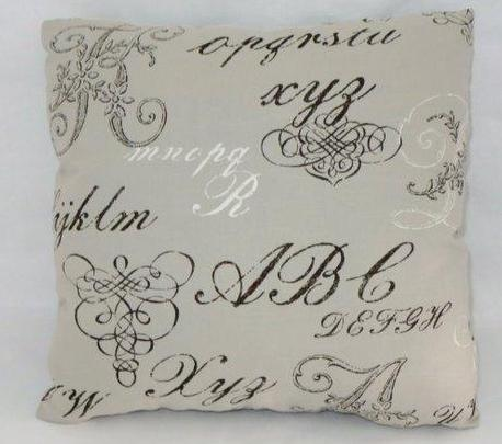 pale grey alphabet script pillow