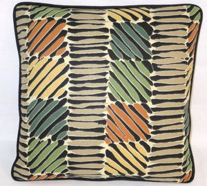 tribal woven print pillow teal orange green yellow