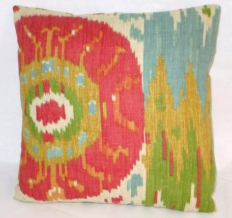 colorful ikat pillow red green blue