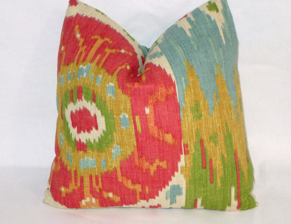 ikat pillow colorful linen