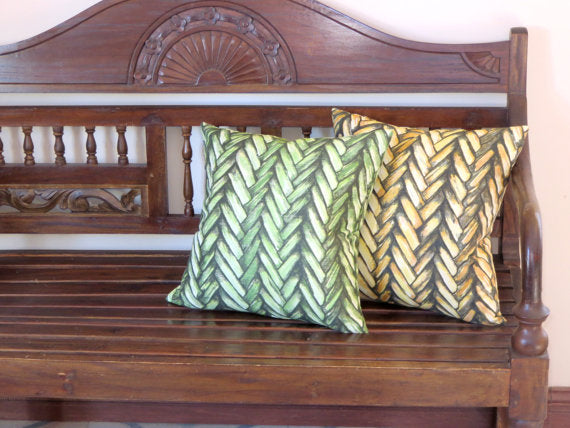 green or yellow thatch print pillows