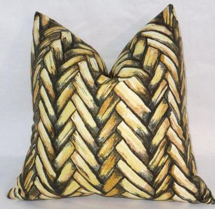 yellow thatch pillow cover