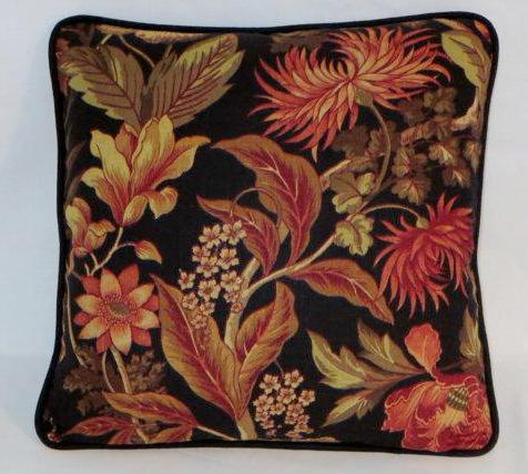 black and orange tropical floral pillow