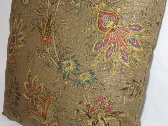 jacobean floral brown linen pillow