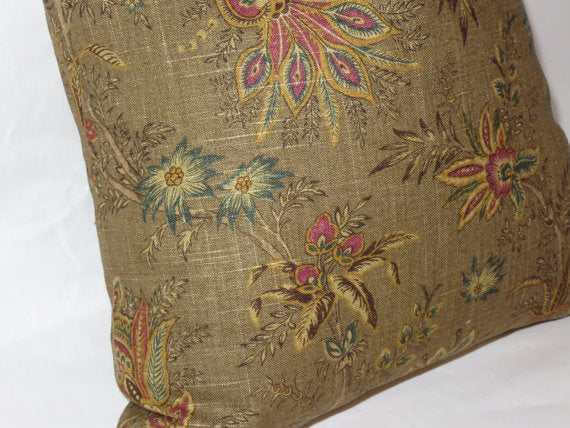 Brown Jacobean Floral Pillow Cover