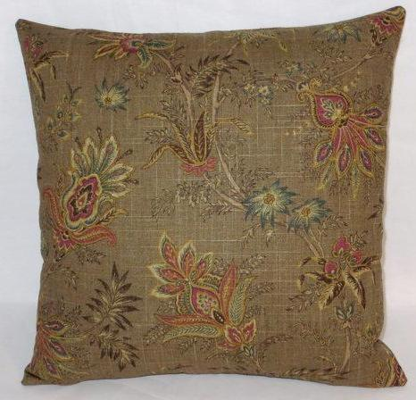 brown jacobean floral linen pillow