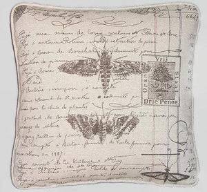 Moth and Butterfly Script Pillow Cover