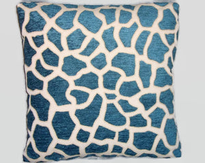 blue giraffe chenille pillow