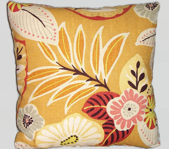 Gold linen floral pillow cover