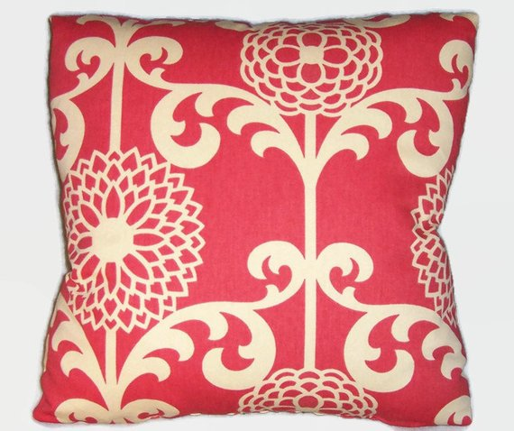 Waverly red zinnia pillow