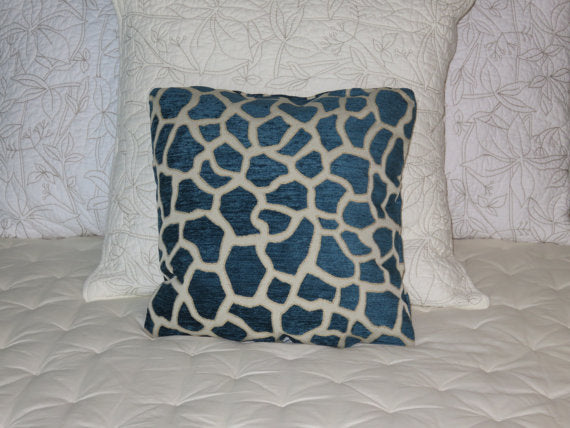 blue giraffe print chenille pillow