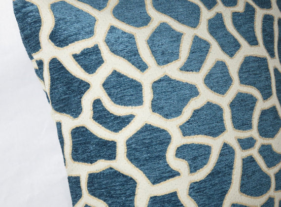 chenille blue giraffe pillow