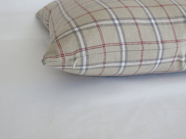 classic tan plaid pillow with red, cream, grey