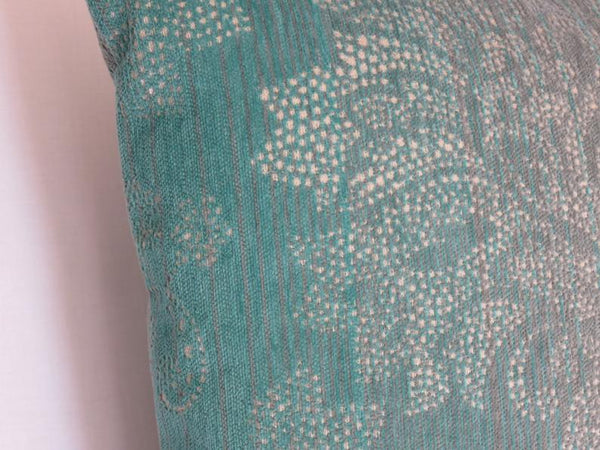Turquoise Damask Chenille Pillow Cover