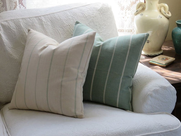sea green farmhouse stripe pillow cover