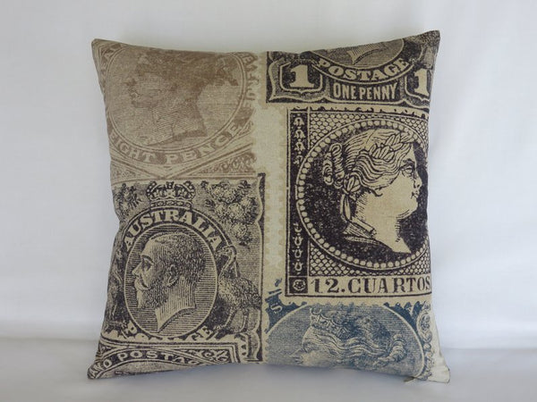 Indigo Stamp Pillow Cover, Philatelist, Collector Gift