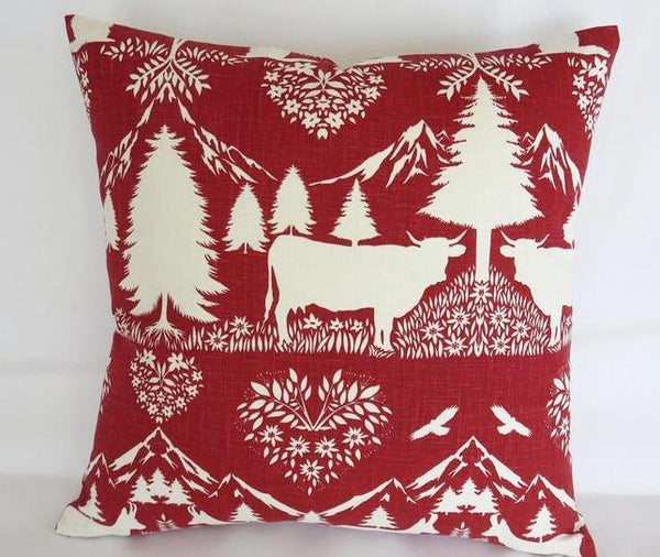 cranberry red and white pillow cover with animals - cows, beavers