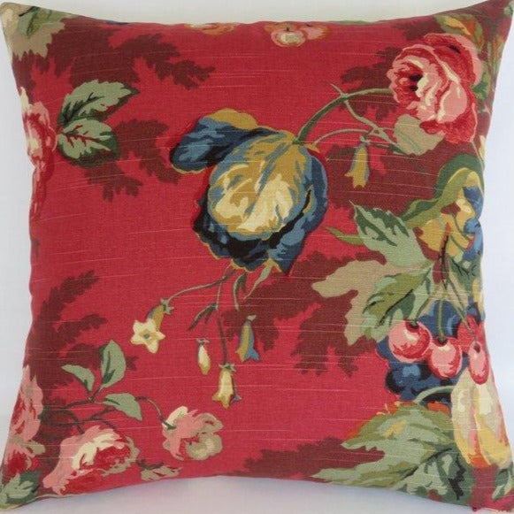 Red Floral & Fruit Pillow Cover, P Kaufmann Queensland