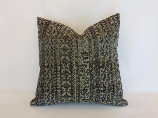 blue & brown sweater stripe pillow