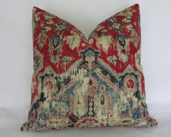 red blue tan medallion pillow cover Covington Massimo