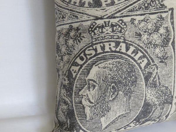 Grey Stamp Pillow Cover, Philatelist, Collector Gift