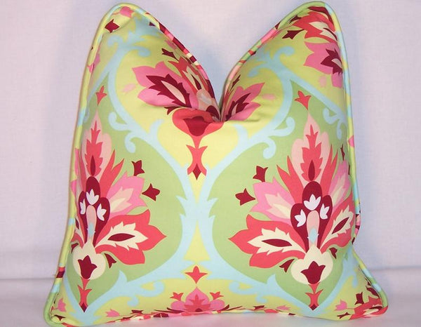 Aqua pink green pillow cover, Amy Butler Trumpet Flowers