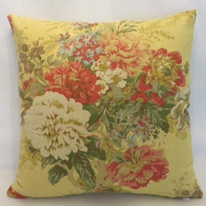 Yellow Floral Pillow Cover in Gingersnap Waverly Ballad Bouquet