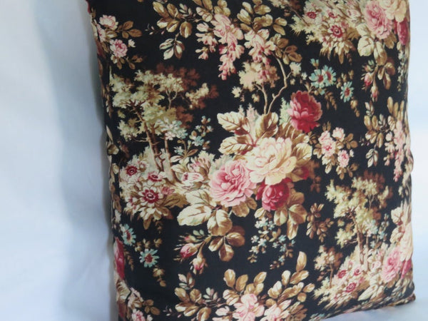 "Black and Pink Floral Pillow Cover, 17"" - 18"" Lightweight Cotton, Vintage Look"