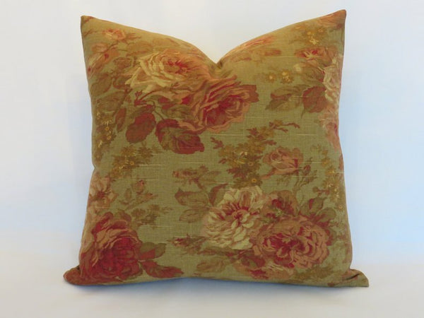 Tea Stain Floral Pillow Cover, Vintage Look Pink Roses