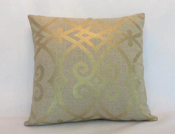 Tan Linen Pillow Cover with Metallic Gold, Jaclyn Smith Fabric Gates