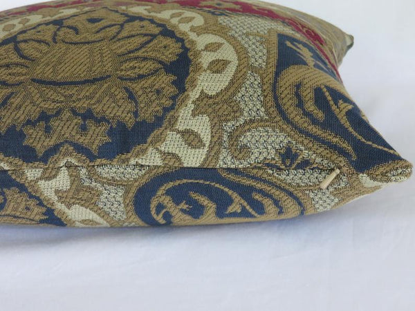 Medieval heraldry pillow cover, Griffin brocade in gold, blue, red