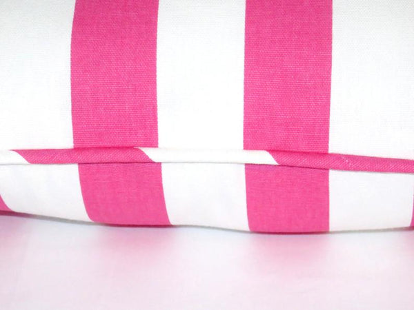Hot pink and white awning stripe pillow cover