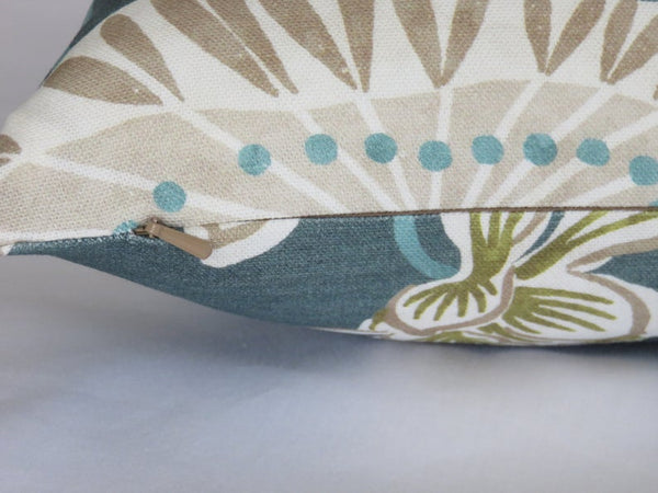 Teal Koi Pond Pillow Cover, Lily Pads, Flowers and Fish