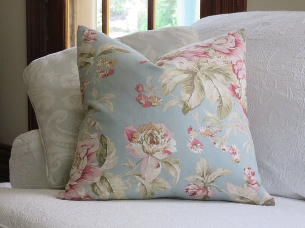 Blue and Pink Floral Pillow Cover, Waverly Fleuretta in Mist