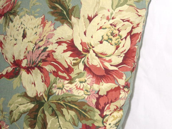 Teal & Maroon Floral Pillow Cover , Waverly Fleuretta Bayberry