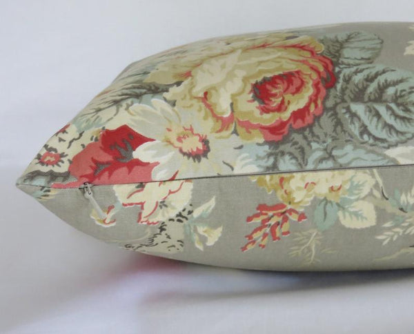 Grey Rose Pillow Cover, Waverly Sanctuary Clay, Norfolk, With Coral Rust Gold Mint