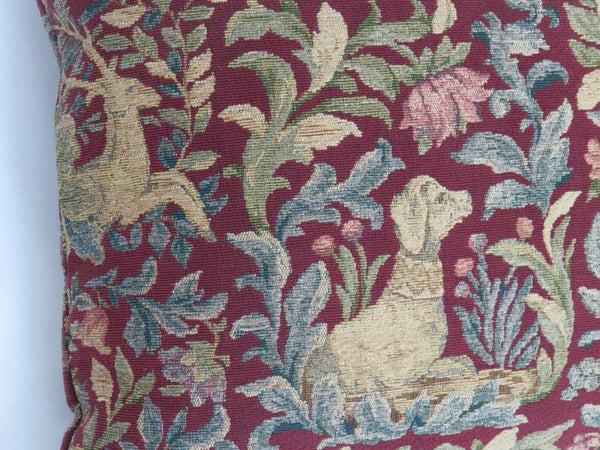 unicorn tapestry pillow cover dark red, medieval animals