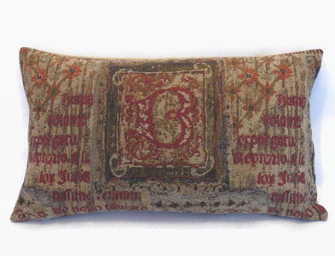 medieval script tapestry pillow cover, initial B
